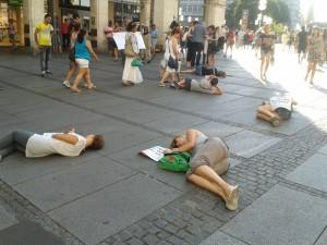Spektakuläre  Aktion der Grauen Riesen in München  Foto: Margit Pabst